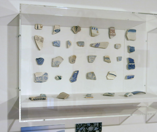 Collection of ceramic fragments found in River Severn near Llanidloes